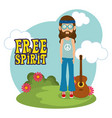 man hippie with guitar lifestyle character vector image