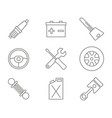 monochrome set with line car service icons vector image