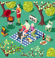 outdoor bbq isometric background vector image vector image