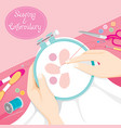People hand sewing clothes in embroidery hoop vector image