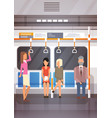people passangers in subway car modern city public vector image