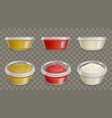 plastic containers for sauces realistic set vector image vector image