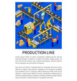 production line abstract scheme of modern factory vector image vector image