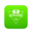 retro music icon green vector image vector image