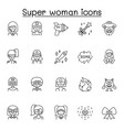 set super woman related line icons contains vector image