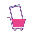 shopping cart and smartphone online order commerce vector image vector image