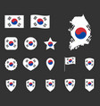 south korea flag icons set flag of republic of vector image vector image