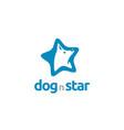 star white dog wolf fox hound head logo vector image vector image