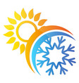 sun and snowflake air conditioning symbol vector image vector image