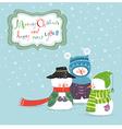Three christmas snowman vector image vector image
