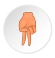 Two fingers down gesture icon cartoon style vector image
