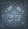 use energy saving light bulbs lettering on vector image vector image