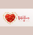 valentines day template design with red heart vector image