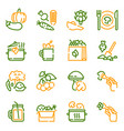 vegetarian products color linear icons set vector image vector image