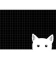 White Cat Grid Background vector image