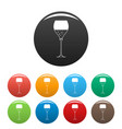 wine glass icons set color vector image vector image