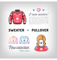 Winter sweater thin line icons christmas pullover vector image