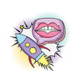 woman mouth with speech bubble and ufo vector image vector image