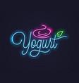 yogurt cream neon sign frozen neon banner vector image vector image