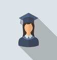 Flat icon of female graduate in graduation hat vector image