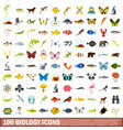 100 biology icons set flat style vector image vector image