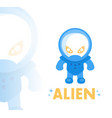 alien in blue space suit in flat style vector image vector image