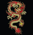 asian tattoo dragon design in color vector image vector image