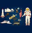 astronaut in space spaceman explores galaxy vector image