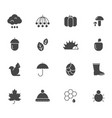 autumn black icons various silhouettes autumn vector image vector image