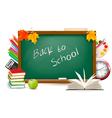 back to schoBack to school Green desk with splies vector image vector image