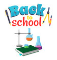back to school sticker with laboratory equipment vector image vector image