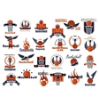 Basketball sport game orange and blue icons vector image