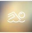 Beach wave thin line icon vector image