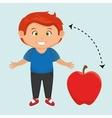 boy cartoon fruit apple red vector image