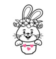 bunny with cereal bowl baby clothes print vector image vector image