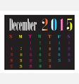 Calendar December 2015 vector image vector image