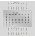 calendar month for 2016 pages May start Monday vector image vector image