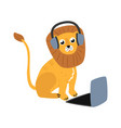 cartoon lion sitting behind laptop vector image