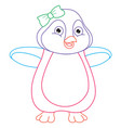 cartoon penguin coloring page vector image vector image