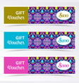 colorful gift voucher templates vector image vector image