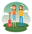 couple hippies playing guitar lifestyle characters vector image