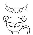 cute monkey animal with garlands hanging vector image vector image