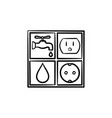 electricity and water signs hand drawn sketch icon vector image