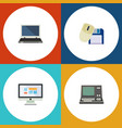 flat icon laptop set of technology computer mouse vector image vector image