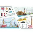 flat travel to london composition vector image vector image