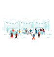 flea market people buy and sold fleas shop sale vector image