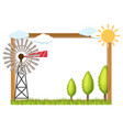 frame template with wind turbine and trees vector image vector image