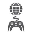 global game glyph icon play and world globe with vector image vector image