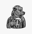 grizzly bear with a beer mug brewer with a glass