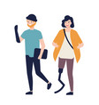 happy young woman with prosthetic leg and man with vector image vector image